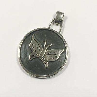 Vlinder medaillon van zilver