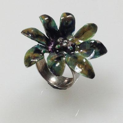 zilveren ring geemailleerd