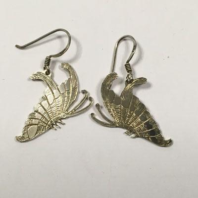 Zilveren vlinder oorbel