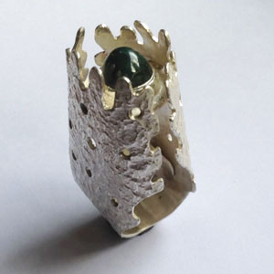 Zilveren hoge ring met aventurijn